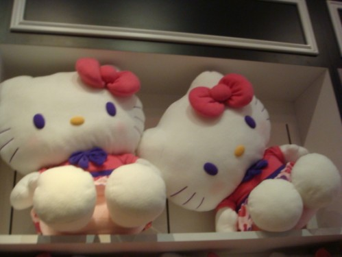 Two plush hello kitty dolls