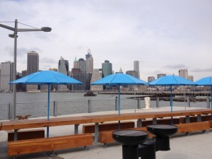 Manhattan view with blue umbrellas