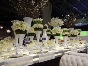 white wedding table and flowers
