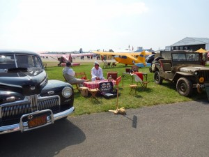 picnic between old cars